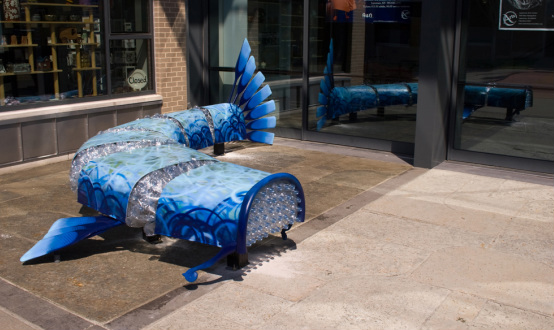 Fish Out of Water in front of the Lawrence Arts Center